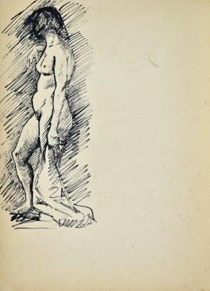 Ludwik MACIĄG (1920-2007), Studium aktu stojącej kobiety trzymającej draperię