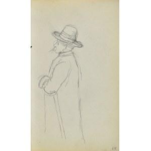 Jacek MALCZEWSKI (1854-1929), Szkic starca z sumiastym wąsem, w kapeluszu i laską pod pachą
