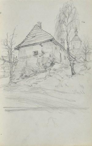 Józef PIENIĄŻEK (1888-1953), Pejzaż z zabudowaniami