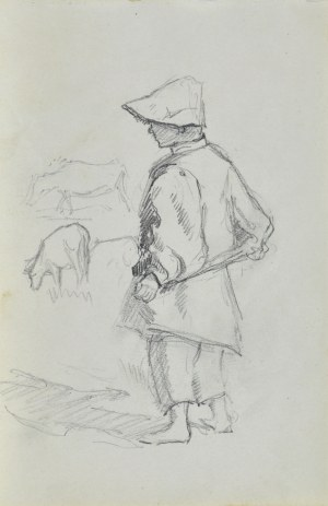 Józef PIENIĄŻEK (1888-1953), Pastuszek z krowami