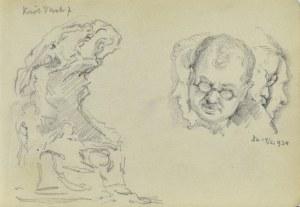 Józef PIENIĄŻEK (1888-1953), Szkic rzeźby lub pomnika i szkice głów męskich