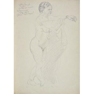 Kasper POCHWALSKI (1899-1971), Akt stojącej kobiety z rzucającym cieniem na ścianie, 1953