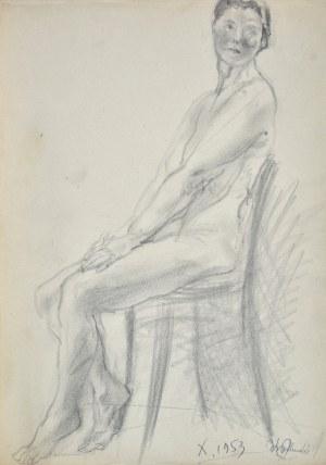 Kasper POCHWALSKI (1899-1971), Siedząca naga kobieta na krześle, 1953