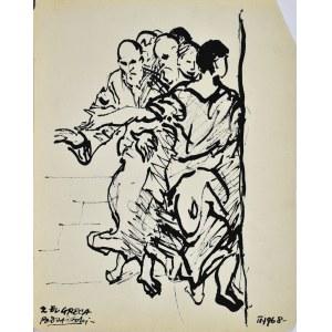 """Kazimierz PODSADECKI (1904-1970), Grupa postaci wg obrazu El Greca """"Uzdrowienie ślapca"""", 1968"""