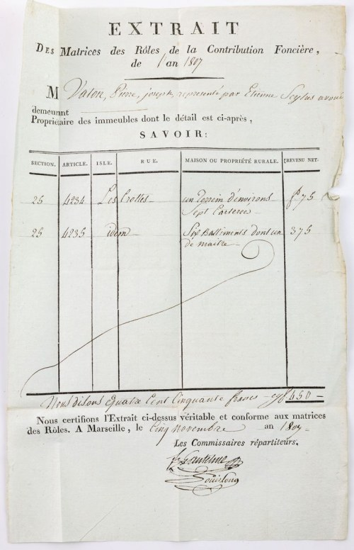 WYCIĄG Z PRZYCHODÓW Z NIERUCHOMOŚCI ZA ROK 1807