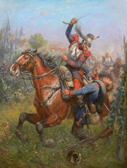 Artysta nieokreślony, Potyczka francuskiego kirasjera z piechurem pruskim, scena z wojny francusko-pruskiej l. 1870-1871