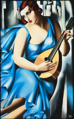 Tamara Łempicka (1898 Warszawa - 1980 Cuernavaca Meksyk), Femme bleue a la Guitare