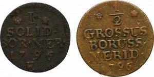 Germany, South Preussen, Lot of schilling and 1/2 groschen 1796, Konigsberg