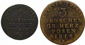 Germany, Grand Duchy of Posen, Lot of Groschen and 3 groschen 1816