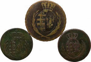 Duchy of Warsaw, Lot of 1 and 3 groschen 1811