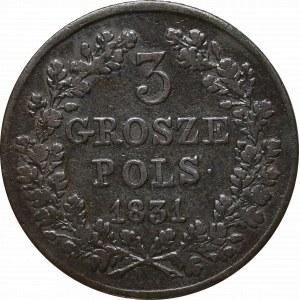 Powstanie Listopadowe, 3 grosze 1831 - łapy orła proste