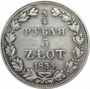 Poland under Russia, Nicholas I, 3/4 rouble=5 zloty 1835
