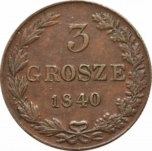 Poland under Russia, Nicholas I, 3 groschen 1840
