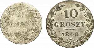 Poland under Russia, Lot of 5 and 10 groschen 1840