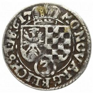 Śląsk, Księstwo legnicko-brzesko-wołowskie, 3 krajcary 1617, Złoty Stok - nieopisany