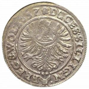 Śląsk, Księstwo Legnicko-Brzesko-Wołowskie, Jerzy, Ludwik i Chrystian, 3 Krajcary 1657 EW, Brzeg