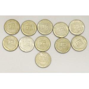 PRL, zestaw srebrnych monet - mapki (11 egzemplarzy)