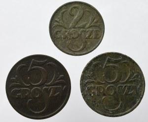 II Rzeczpospolita, zestaw groszy 3 egzemplarze