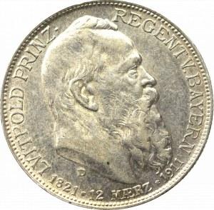 Niemcy, Bawaria, 2 marki 1911 - 90 urodziny księcia regenta