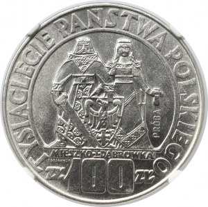 PRL, 100 złotych 1966 Mieszko i Dąbrówka Próba Nikiel - NGC MS65