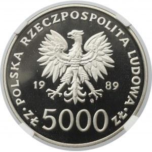 PRL, 5000 złotych 1989 Jan Paweł II, Próba Nikiel - NGC PF69