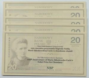 III RP, 20 złotych, Maria Skłodowska-Curie - zestaw 5 egzemplarzy