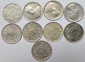 Indie Brytyjskie, Zestaw 1/4 rupii 1882-1940 (9 egz)