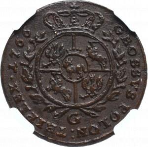 Stanisław August Poniatowski, Trojak 1766 G - NGC AU53BN