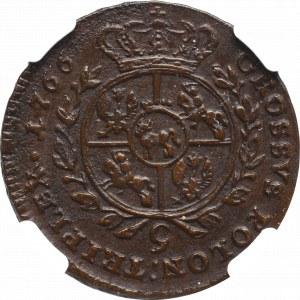 Stanisław August Poniatowski, Trojak 1766 g - NGC AU Details