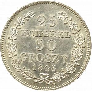Zabór rosyjski, Mikołaj I, 25 kopiejek=50 groszy 1848 MW, Warszawa