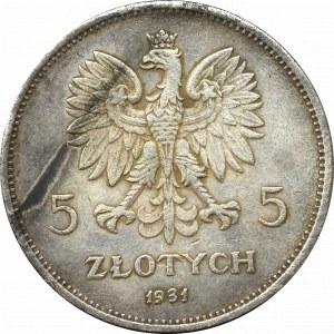II Rzeczpospolita, 5 złotych 1931 Nike - stare fałszerstwo