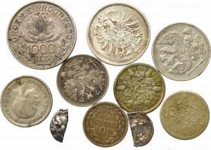 Zestaw monet świata w tym antyk i srebro