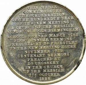 England, Medal 100 years of the Messaiah Church, Birmingham 1888