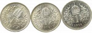 Austria-Hungary, set 1 corona 3 pcs