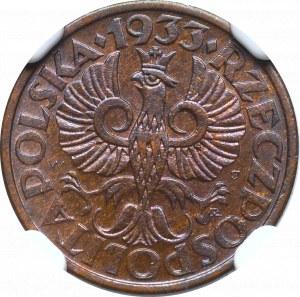 II Republic of Poland, 1 groschen 1933 - NGC MS65 RB