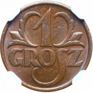 II Republic, 1 groschen 1937 - NGC MS64 BN
