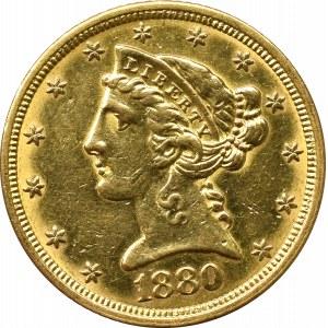 USA, 5 dolarów 1880, Filadelfia - Liberty