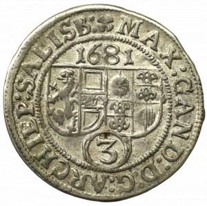 Austria, Salzburg, Bishopic of, 3 kreuzer 1681