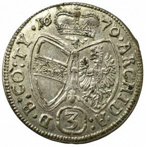 Austria, Leopold I, 3 kreuzer 1670, Hall