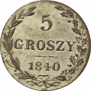 Zabór rosyjski, Mikołaj I, 5 groszy 1840
