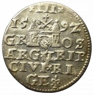 Sigismund III, 3 groschen 1592, Riga