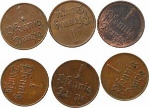Free City of Danzig, Lot of 1 pfennig (6 ex)