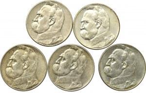 II Republic of Poland, Lot of 5 zloty 1934-36 Pilsudski