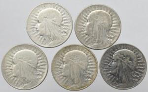 II Rzeczpospolita, 5 złotych 1932-33 Głowa kobiety