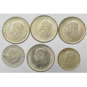 Sweden, Lot of 1 and 2 kroner (6 ex)