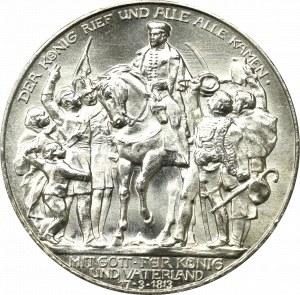 Germany, Preussen, 3 mark 1913 - 100 years of the victory over Napoleon