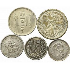 Chiny, Japonia, Mongolia, Zestaw monet