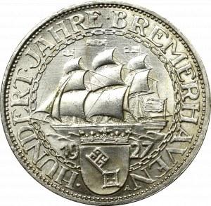 Niemcy, Republika Weimarska, 3 marki 1927 A, 100 lecie portu w Bremie