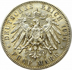 Gemany, Saxony, 5 mark 1913