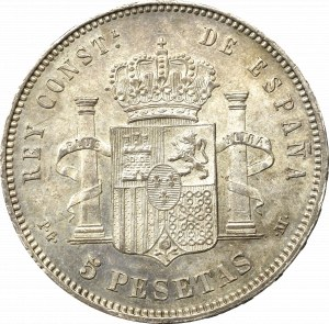 Spain, 5 pesetas 1891